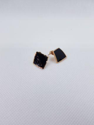 Casual Curve Square Earrings (Black)