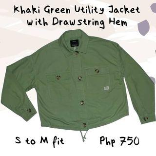 Khaki Green Utility Jacket with Drawstring Hem