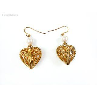 Vintage Avon 1990s Filigree Heart Dangle Earrings, er1806-c