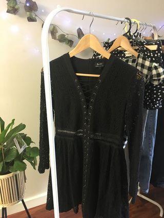 Bardot black lace up dress