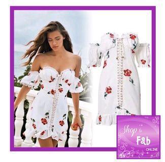 White Off Shoulder Floral Dress