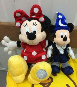 Disney 迪士尼 Mickey Minnie Mouse 米奇米妮老鼠 公仔 2隻 8成新正版