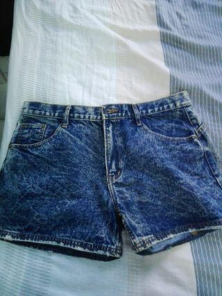 Blue acid demin shorts