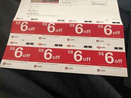 HSBC Caltex Voucher - $6 off x 6