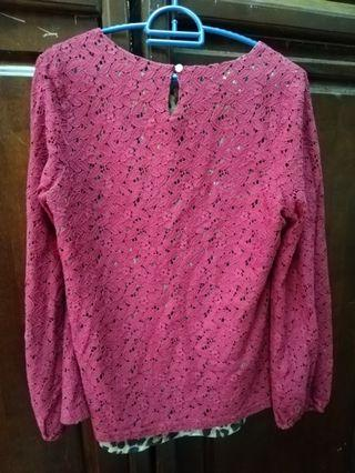 Pink Lace Cotton Top