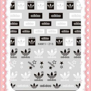 BNIP Adidas Black and white sports brand logo nail stickers nail art nail decal