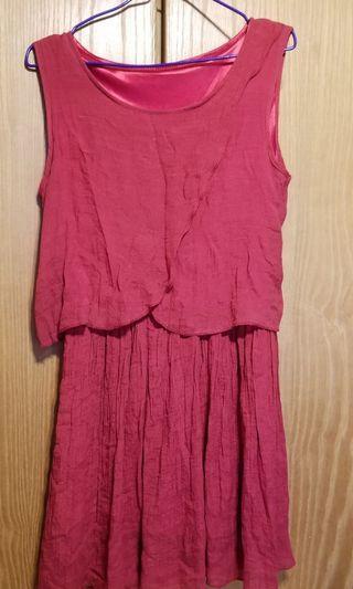 皺款 紅色裙