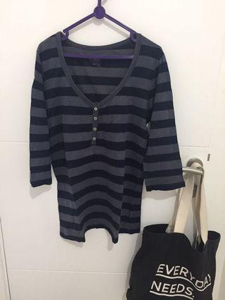 Kaos busui stripes blue