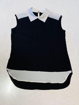 Black & White Collared Work/Office Top