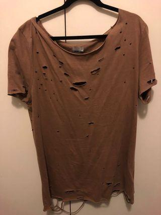 Asos // Brown Ripped T-shirt