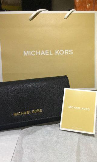 MICHAEL KORS BLACK JET SET TRAVEL FLAT TRIFOLD WALLET