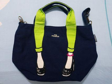 BN Mis Zapatos Navy/Green Tote with Sling