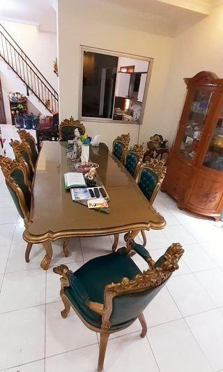 Meja Makan + 8 buah kursi kayu jati semua