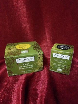 Antipodes 100% New Kiwi seed oil eye cream30ml + Halo Skin Brightening Facial mud mask 75g