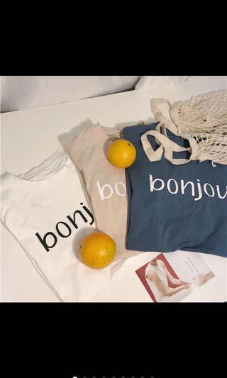 Bonjour短袖t (杏色)