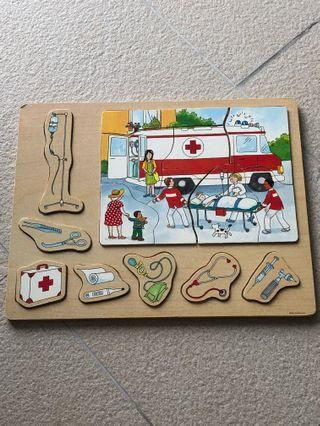 Wooden puzzle ambulance theme doctor