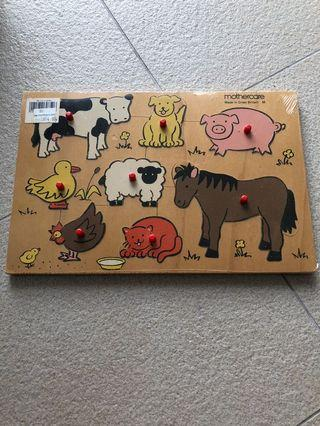 Vintage new Wooden animal puzzle