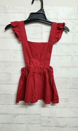 轉賣。全新正韓童裝/荷葉吊帶裙