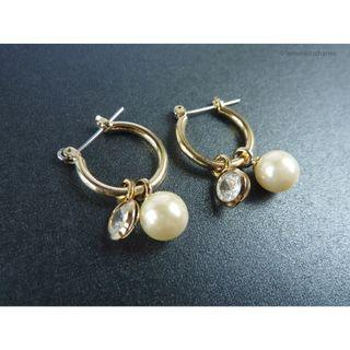 Faux Pearl Crystal Dangle Hoop Earrings, er1810-c