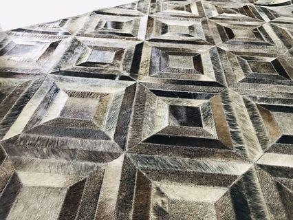 🚚 Large Modern Contemporary Handmade Leather Rug