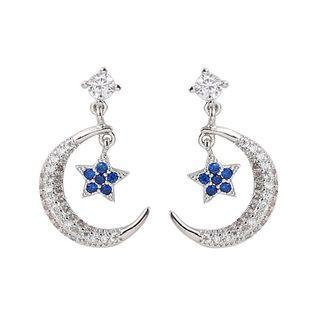 925純銀 星星月亮鑲鑽耳環
