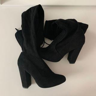 Knee High Black Boots Size 5 1/2