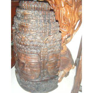 Ancient wooden sculpture 3 faces from Cambodia
