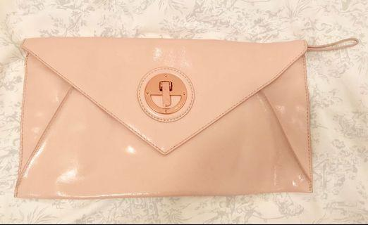 Mimco Pink and Rose Gold Large Patent Clutch