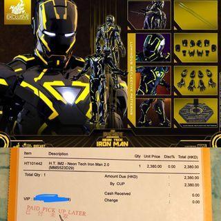(6/7限量訂單) Hot Toys Neon Tech Iron Man 2.0 鋼鐵人 Diecast 合金 Mark 6 馬克6代 (TRON 創:光速戰記) 1/6th scale Collectible Figure hottoys ironman 鐵甲奇俠 tony stark MMS523D29 exclusive 動漫節2019限定 ACGHK