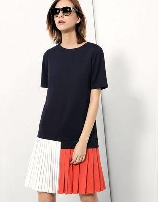 Saturday club shift dress with pleated color blocking hem