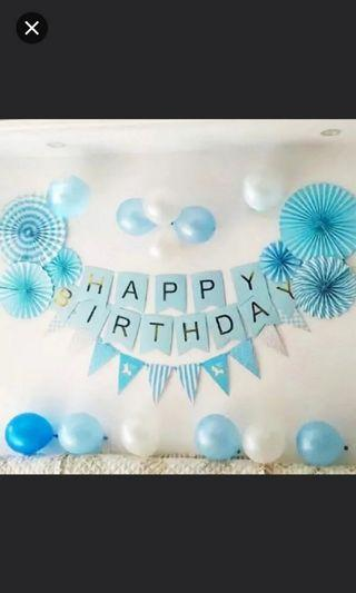 Blue Party Decor. Blue Birthday Party.