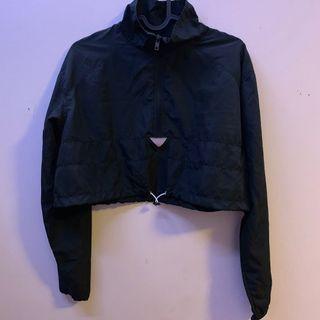 Cropped Black Reflective Windbreaker