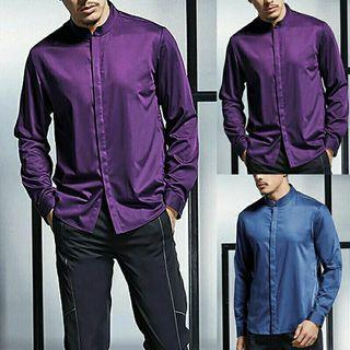 Men's Long Sleeve Shiny Shirt
