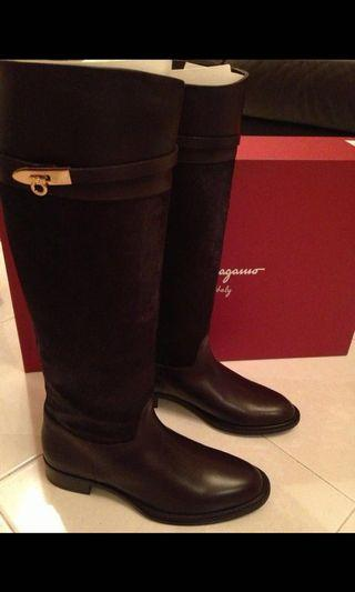 Ferragamo pony hair boot
