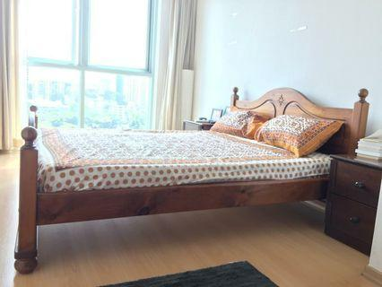 Wooden Bed Frame with 2 side tables Queen
