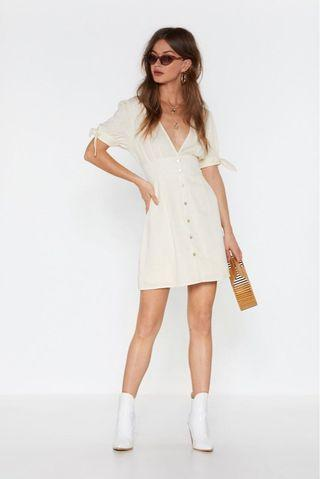 bnwt nastygal all play linen mini button-down dress #amplifyjuly35
