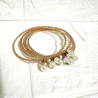 Maybee 飾品 珍珠六層 共六隻 金色手鈪