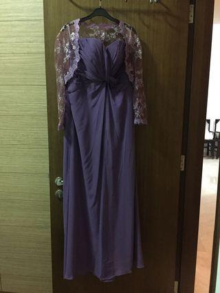 Purple Evening Gown with lace cami jacket