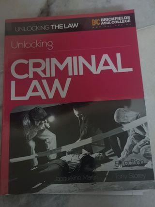 Unlocking Criminal Law Textboom (Jacqueline Martin & Tony Storey)