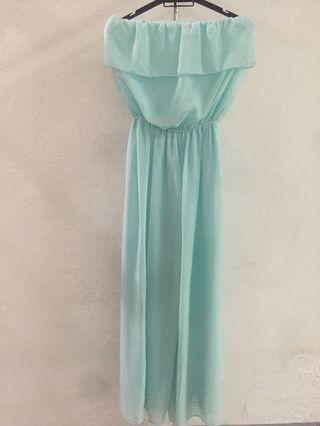 Off Shoulder Jumpsuit Turquoise Dress
