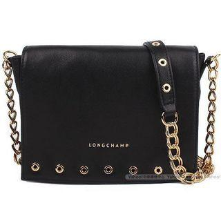 Longchamp Rock Crossbody 小羊皮金鍊肩背包 側背包 黑色