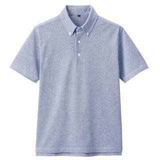 Muji-男有機棉涼感鹿子織扣領POLO衫 深藍s