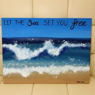 Let The Sea Set You Free Hand Painted Landscape Scenery Nature Beach Waves Painting on Fibre Board Home Interior Decoration