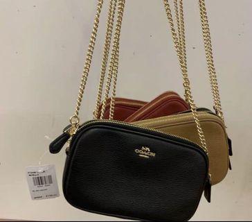 全新 黑色 Coach double zip 雙拉鍊 斜揹袋 側袋