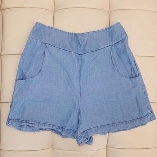 Cotton On Elastic Denim Look Stretchy Comfy High Rise Shorts