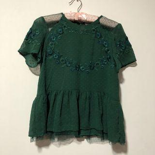 Zara Embroidered Detailed Peplum Top in Emerald Green