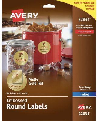 """Avery Matt Gold Foil - 2"""" diameter - 96 labels • 8 sheets"""