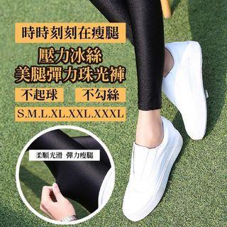 韓國19最新 壓力冰絲美腿彈力珠光褲~不起球 不勾絲