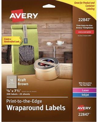 Avery Print-to-the-Edge Label Strips, Kraft Brown, 0.625 x 7.5 Inches, Pack of 300 (22847