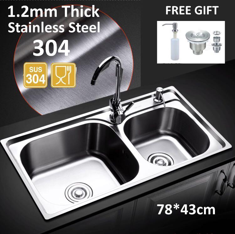 304 Stainless Steel Kitchen Sink Double Bowl Kitchen Sink